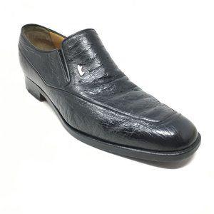 A.Testoni Loafers Shoe Sz 9 UK/10 US Black Ostrich